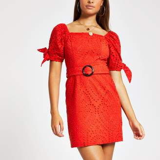 River Island Womens Red broderie belted puff sleeve dress