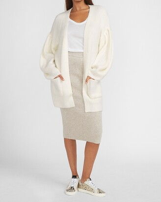Express Chunky Knit Puff Sleeve Cardigan