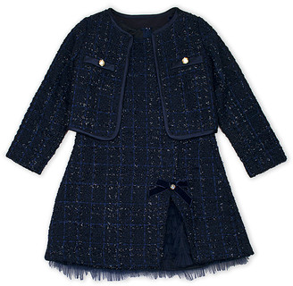 Biscotti Girls' Special Occasion Dresses NAVY - Navy Plaid Boucle Jacket & Navy Plaid Shift Dress - Toddler & Girls