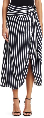 Jonathan Simkhai Multimedia Stripe Wrap Skirt