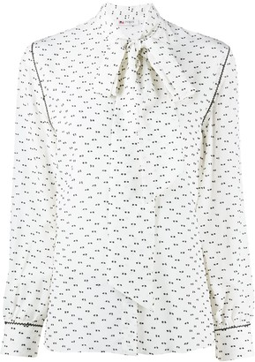 Ports 1961 Printed Tie-Neck Shirt
