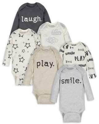 Onesies Brand Baby Boy or Girl Gender Neutral Long Sleeve Bodysuits, 6-Pack