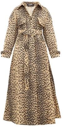 Jacquemus Thika Leopard-print Belted Cotton-blend Coat - Womens - Leopard