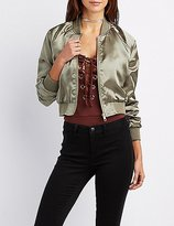 Charlotte Russe Satin Cropped Bomber Jacket