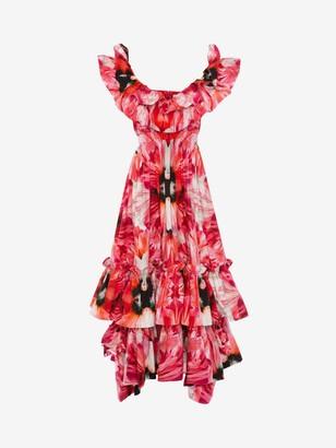 Alexander McQueen Exotic Floral Ruffle Evening Dress