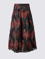 M&S Collection Feather Flared Jacquard A-Line Midi Skirt