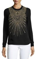 Ralph Lauren Beaded & Studded Crewneck Sweater, Black