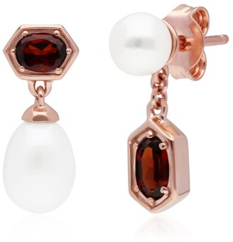 Gemondo Mismatched Garnet & Pearl Dangle Earrings in Rose Gold Plated Silver