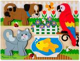 Melissa & Doug ; Pets Wooden Chunky Jigsaw Puzzle - Dog, Cat, Bird, and F...