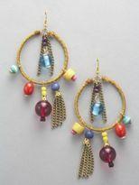 New York & Co. Exotic Beads & Tassle Hoop Earrings