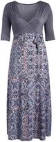 Glam Light Pink & Gray Geometric Faux Wrap Maxi Dress - Plus