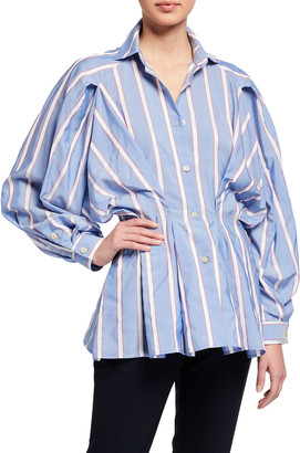 Palmer Harding Sunda Cinched-Waist Striped Shirt