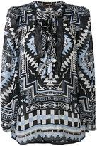 Roberto Cavalli ethnic print lace-up blouse - women - Silk/Polyamide - 42