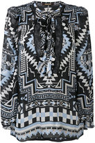 Roberto Cavalli ethnic print lace-up blouse