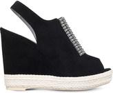 Gina Lua embellished suede wedge sandals