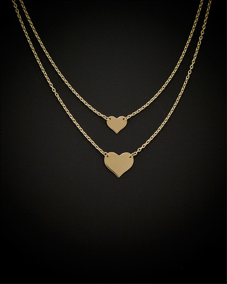 Italian Gold 14K Double Layer Heart Adjustable Necklace