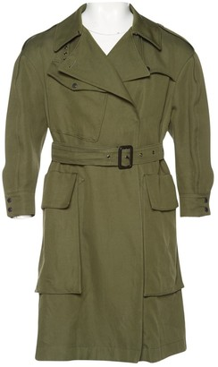 Burberry Green Cotton Trench Coat for Women