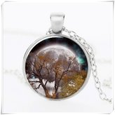 Flowers Life Tree Pendant full moon Glass Cabochon Tibet silver pendant