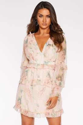 Quiz Chiffon Floral Lace Up Dress