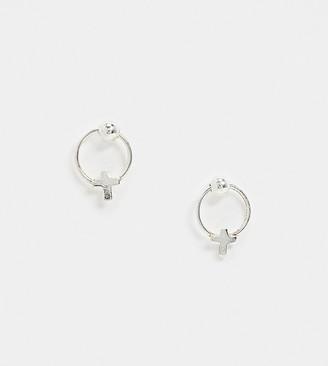 Kingsley Ryan Exclusive sterling silver hoop stud earrings with cross detail