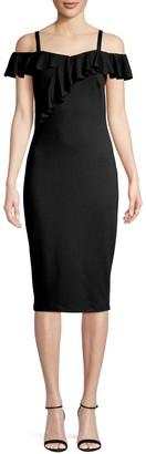 Bailey 44 Cold-Shoulder Ruffle Sheath Dress