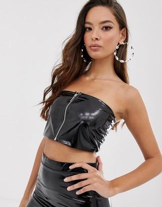 Asos Design DESIGN co-ord bandeau top in vinyl with zip front-Black