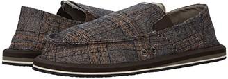 Sanuk Pick Pocket Plaid (Brown) Men's Shoes