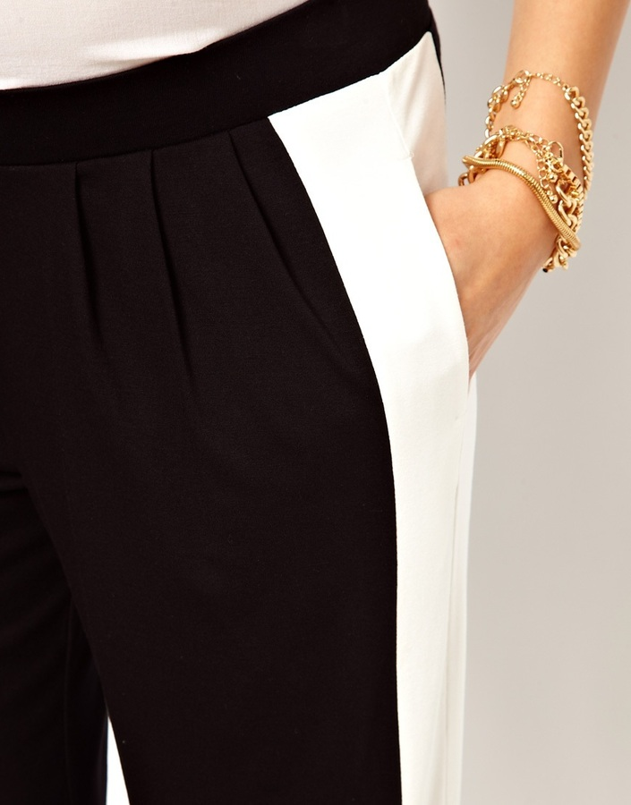 Asos Peg Pant With Side Stripe Panel