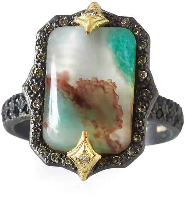 Armenta Old World Aquaprase Emerald-Shaped Cabochon Ring with Diamonds, Size 6.5