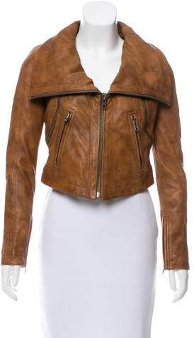 Yigal Azrouel Cropped Leather Jacket w/ Tags