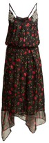 Dodo Bar Or Valentina Embellished Floral-print Chiffon Dress - Womens - Black Multi