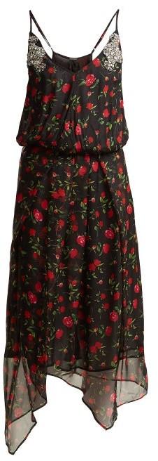 Dodo Bar Or Valentina Embellished Floral Print Chiffon Dress - Womens - Black Multi