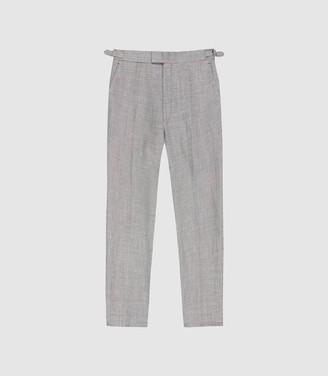 Reiss Dagger - Wool Linen Blend Slim Fit Trousers in Grey
