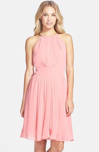 Eliza J Pleated Chiffon Fit & Flare Dress