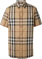 Burberry shortsleeved checked shirt - men - Cotton/Polyamide/Spandex/Elastane - S