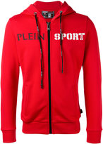 Plein Sport - logo print zipped hoodie - men - Cotton - M