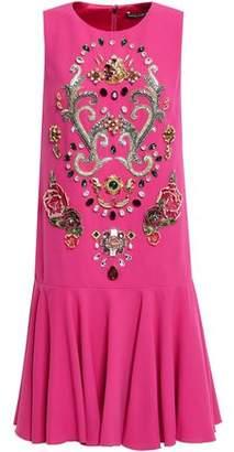 Dolce & Gabbana Ruffled Appliqued Crepe Mini Dress