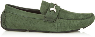 Jimmy Choo BREWER Army Casual Loafer with Broken Star Detail on Printed Nubuck