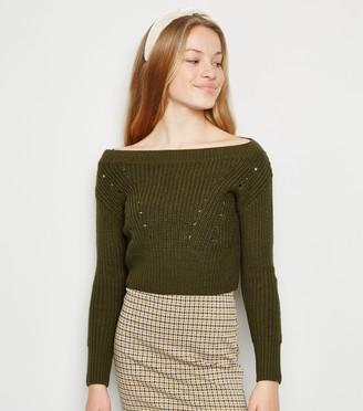 New Look Girls Pointelle Knit Bardot Jumper