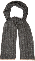 Brunello Cucinelli Ribbed-knit wool and cashmere-blend scarf