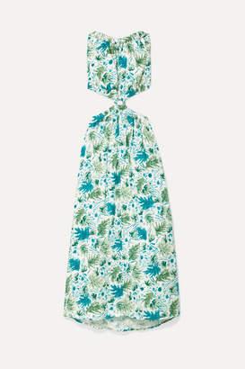 Cult Gaia Theia Cutout Printed Linen Maxi Dress - Turquoise