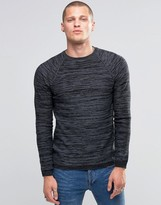 Blend of America Crew Slim Knit Sweater Stripe Melange Black