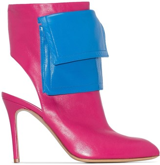 Natasha Zinko 100mm Pocket-Detailed Two-Tone Ankle Boots