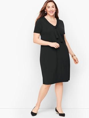 Talbots Knit Jersey Tie Neck Shift Dress