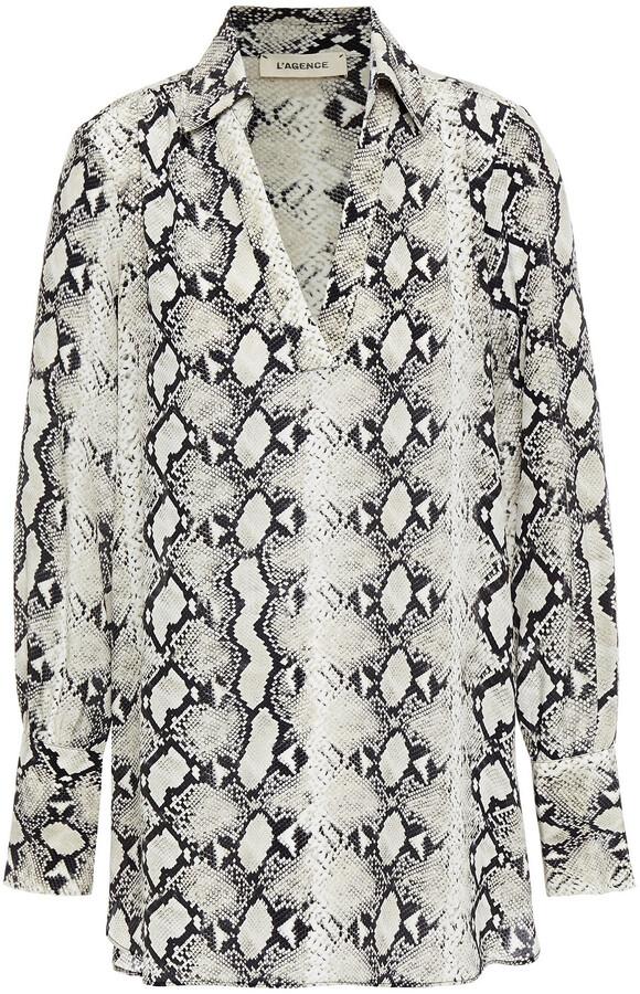 Thumbnail for your product : L'Agence Braydon Oversized Snake-print Silk Crepe De Chine Blouse