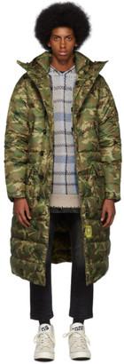 R 13 Khaki Brumal Edition Camo Down Long Anorak Puffer Coat