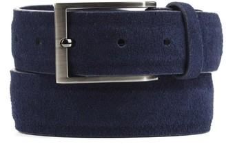 Tie Bar Solid Suede Navy Belt
