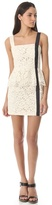 Charlotte Ronson Peplum Dress with Leather Detail