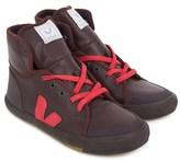 Veja Burgundy & Red Leather High Tops
