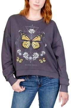Rebellious One Juniors' Butterfly Daisy Graphic Sweatshirt